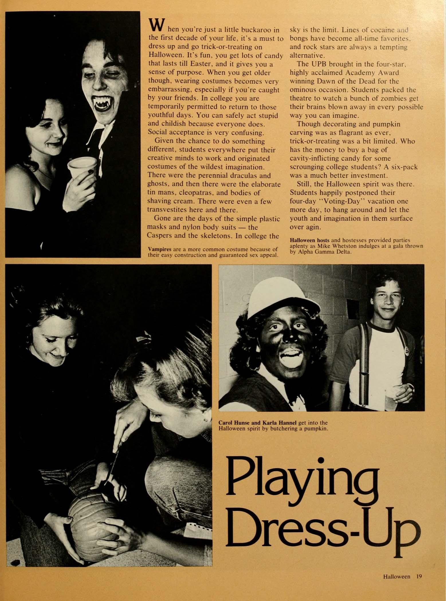1981 Bluestone Yearbook Page Showing Unidentified Alpha Gamma Sorority Member In Blackface